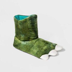Boys Girls Slippers Bootie Green Dinosaur Feet NWT
